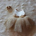 Champagne Lace Applique Sleeveless Tulle Flower Girl Dress With Bow