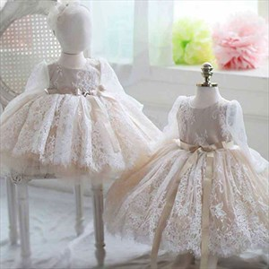 Champagne Lace Overlay Long Sleeves Flower Girl Dress With Sash