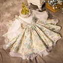 Embroidery High Neck Flower Girl Dress With Long Sleeves