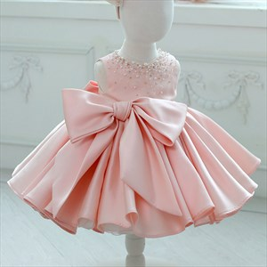 Satin Beaded Embellished Flower Girl Dresses With Fluffy Skirts