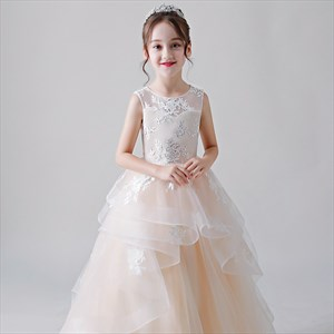 Champagne Lace Embellished Tiered Tulle Flower Girl Dress