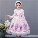 Princess Sweet Lolita Long-Sleeve Lace-Trim Dress For Girls