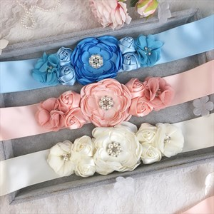 Flower Baby Shower Mom-To-Be Ribbon Sash With Pearls