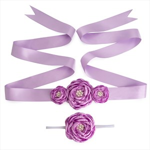 Floral Pearl Embellished Ribbon Belts For Flower Girl Dresses