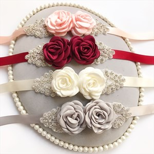 Rhinestone Satin Wedding Sash Belt With Flower