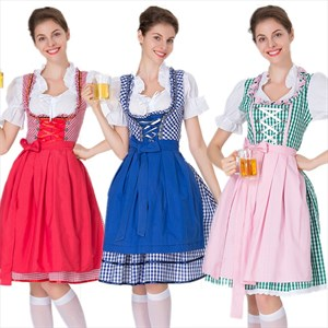 Women's Oktoberfest Costume Bavarian Beer Girl Drindl Tavern Maid Dress