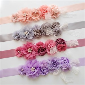 Lace Embellished Floral Baby Shower Mom-To-Be Ribbon Sash
