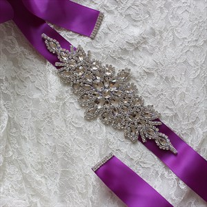 Satin Bridal Sash Belt With Rhinestones