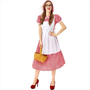 Little Red Riding Hood Dress Halloween Costume Adult Red Plaid Cosplay Wolf Grandma Fairy Tales Character Suit
