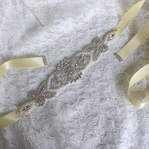 Classic Pearls And Rhinestone Sash Belt For Dresses