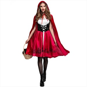 Deluxe Little Red Riding Hood Costume Red Long Dress Cape Outfit For Women Halloween Party