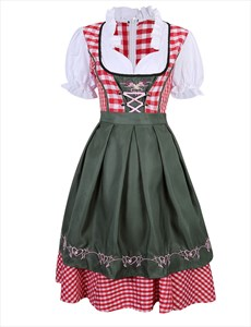 German Bavarian Dirndl Dress Oktoberfest Traditional Beer Girl Costume W/ Apron