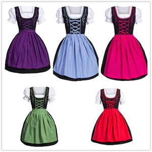 Women Medieval German Oktoberfest Dirndl Cosplay Costume Party Dress
