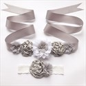 Floral Embellished Ribbon Sash For Girls With Pearls