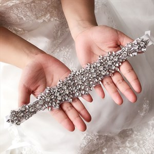 Glamorous Rhinestone Bridal Ribbon Sash Wedding Belt