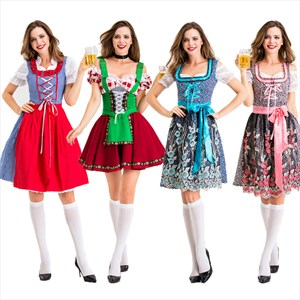 Ladies Oktoberf Beer Maid Authentic German Festive Bar Waiter Bavarian Dirndl Peasant Dress