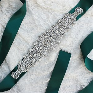 Glittery Satin Crystal Bridal Sash With Rhinestone