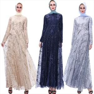 Sequin Embellished Long Sleeves Tulle Maxi Dress