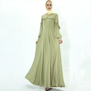 Ruffled Embellished Long Sleeves Ramadan Dress