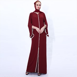 Trumpet Sleeve Abaya Dress With Pearl Embellishment