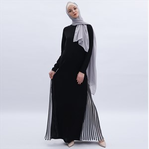 Women's Black Wrinkled Embellishment Abaya Dress