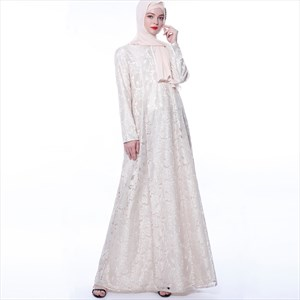 Women's Lace Overlay Long Sleeves Abaya Dress