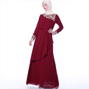 Elegant Lace Embellished Layered Chiffon Turkey Abaya Dress