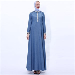 Woven Embellished Professional Robe Denim Maxi Dress