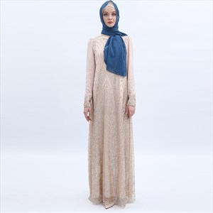 Glittery A-Line Sequin Embellished Ramadan Dress
