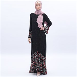 Black Mermaid Chiffon Floral Print Dress With Trumpet Sleeves