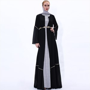 Simple Chiffon Long Sleeve Open Abaya Cardigan