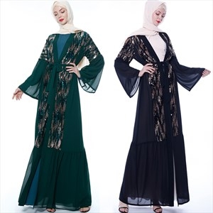 Women's Chiffon Long Sleeve Sequin Open Abaya Cardigan