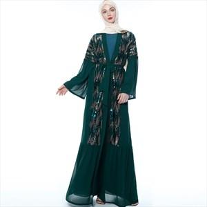 Women's Chiffon Long Sleeve Sequin Open Abaya Cardigan