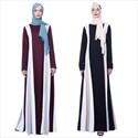 Spliced Stripe Long Sleeves Turkey Ramadan Dress