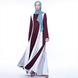 Spliced Stripe Long Sleeves Turkey Ramadan Dress