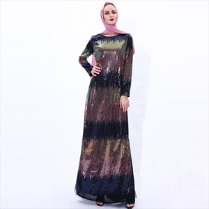 Women's Ombre Sequin Robe Ramadan Maxi Dress