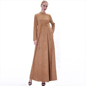 Women's A-Line High-Neck Long Sleeves Suede Abaya Dress