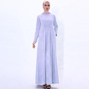 Women's A-Line High-Neck Long Sleeves Suede Abaya Dress