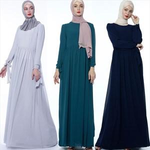 A-Line Chiffon Ramadan Turkey Casual Dress With Bows