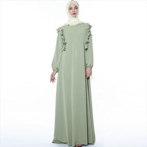A-Line Ruffled Long Sleeves Abaya Robe Casual Dress