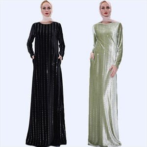 Vertical Striped Sequin Long Sleeve Velvet Maxi Dress