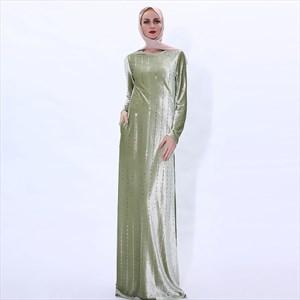 Vertical Striped Sequin Long Sleeve Velvet Maxi Dress