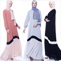 Women's Contrast Long Sleeves Robe Summer Maxi Dress