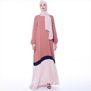 Women's Contrast Long Sleeves Robe Summer Maxi Dress
