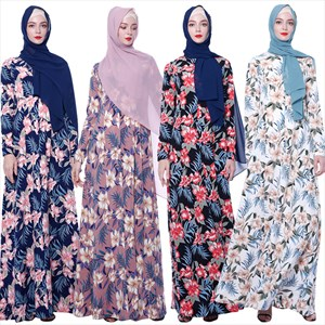 Women's A-Line Floral Printed Long Sleeve Maxi Dress