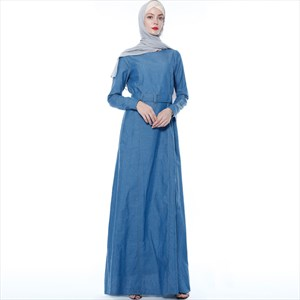 Women's A-Line Denim Blue Long Sleeve Abaya Dress