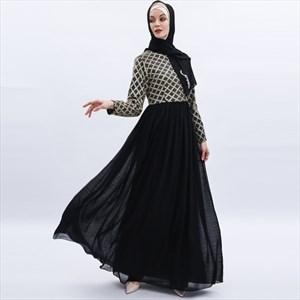 Sequin Bodice Chiffon Turkey Long Sleeves Maxi Dress