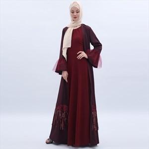 Chiffon Sequin Tassel Open Kimono Cardigan With Sash