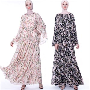 Floral Printed Chiffon Abaya Dress With Trumpet Sleeve