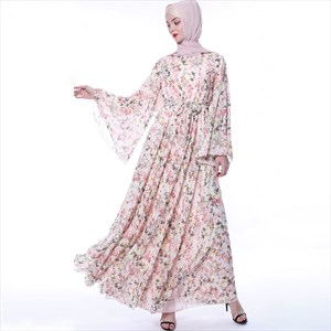 Floral Printed Chiffon Abaya Dress With Trumpet Sleeve